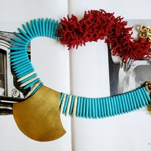 HOT!! 🔥VTG Turquoise & Red Coral Beaded Necklace